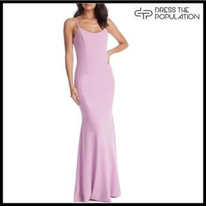 DRESS THE POPULATION CREPE MAXI DRESS GOWN